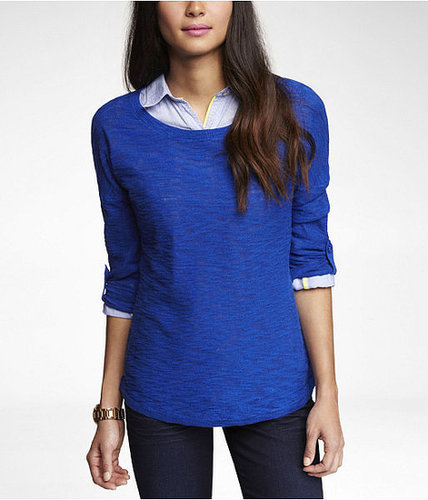 Rolled Sleeve Tunic Sweater