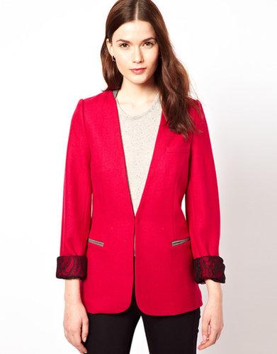 Aryn K Longline Blazer With Lace Lining