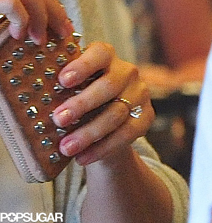 Lauren Conrad flashed her engagement ring while shopping.