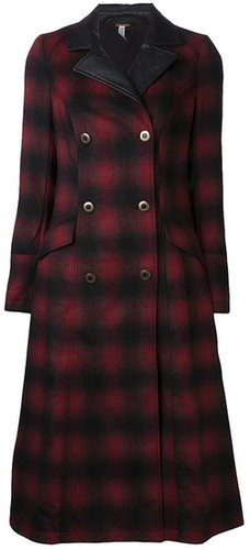 Free People plaid maxi sergeant coat