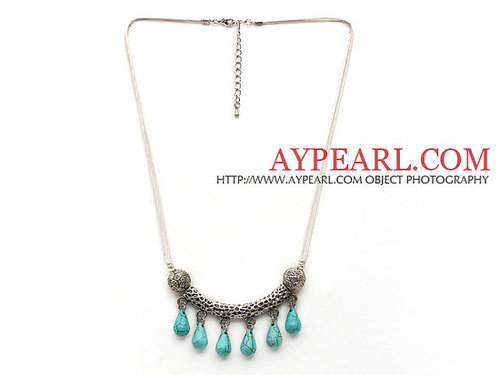 Simple Style Teardrop Shape Turquoise Necklace with Tibet Silver Tube Accessory