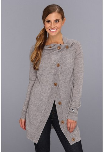 The North Face - Hideaway Sweater Wrap (Heather Grey) - Apparel