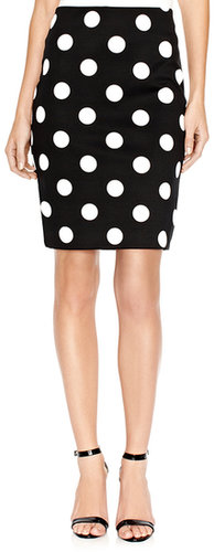 Polka Dot Ponte Pencil Skirt
