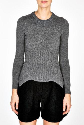 Carven Cashmere Wool Blend Ribbed Knit Structured Jumper