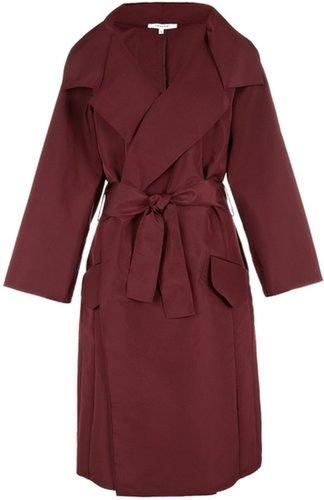 Carven Burgundy Thick Taffeta Coat