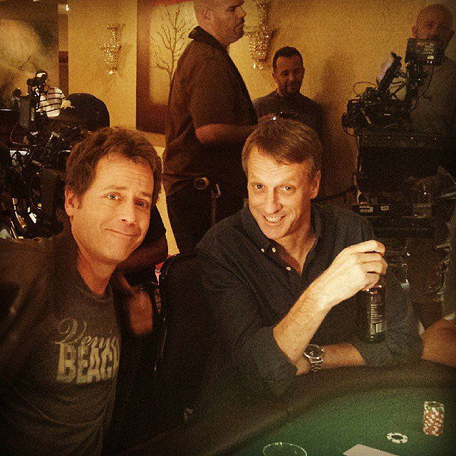 Tony Hawk and Greg Kinnear hit the poker table while shooting scenes. Source: Instagram user tonyhawk