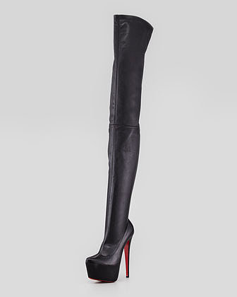 Christian Louboutin Monicarina Over-The-Knee Leather Platform Boot, Black