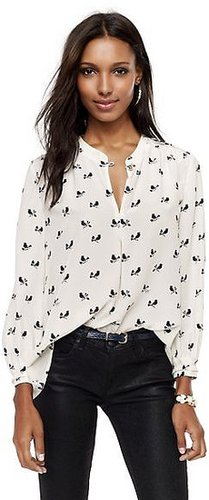 Silk Songbird-Print Blouse
