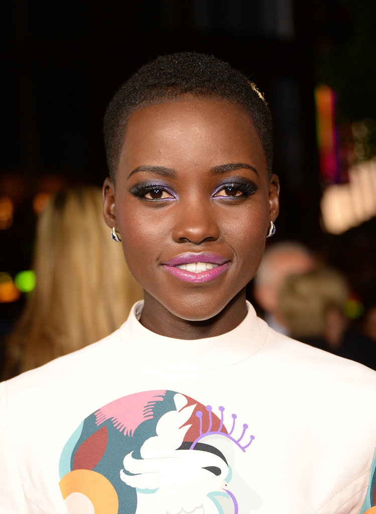 Making her American film debut in 12 Years a Slave, actress Lupita Nyong'o went for a colorful makeup look at the film's LA premiere earlier this week.