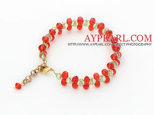 2013 Christmas Design 6mm Red and Green Crystal Bracelet with Extendable Chain