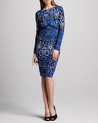 David Meister Long-Sleeve Animal-Print Dress