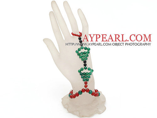 2013 Christmas Design Green Agate and Carnelian Wire Wrapped Hand Bracelet