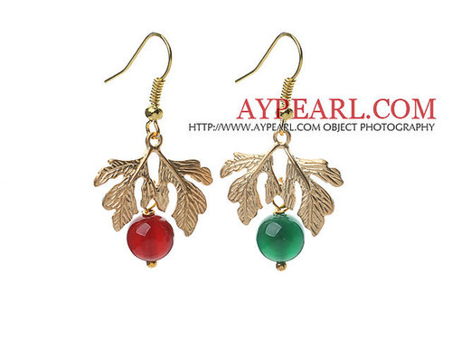2013 Christmas Design Green Agate and Carnelian Earrings with Golden Color Tree Shape Accessories