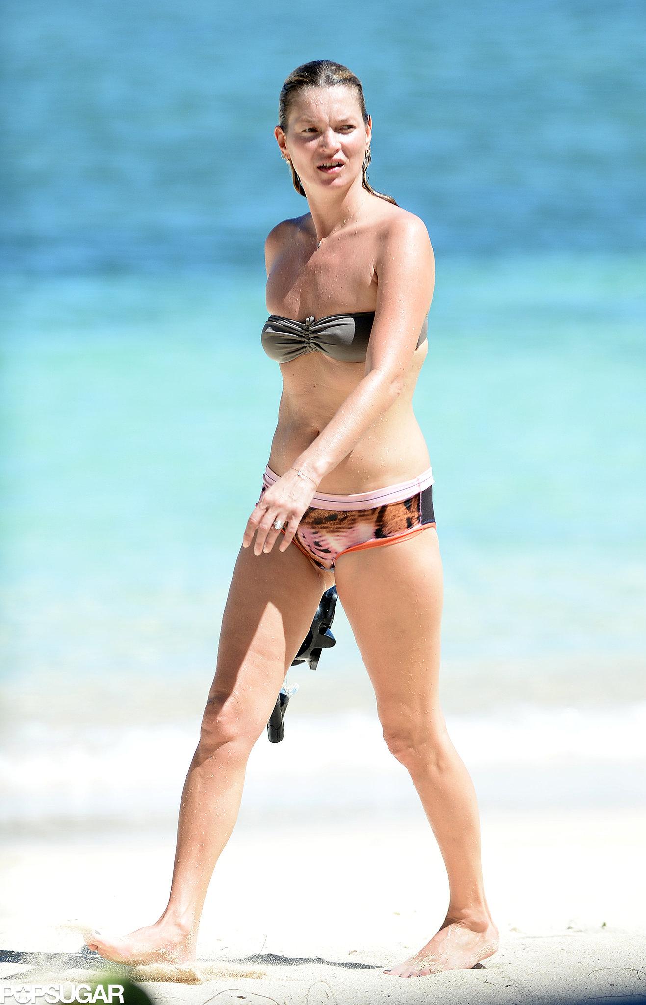 Kate Moss took a dip in the ocean.