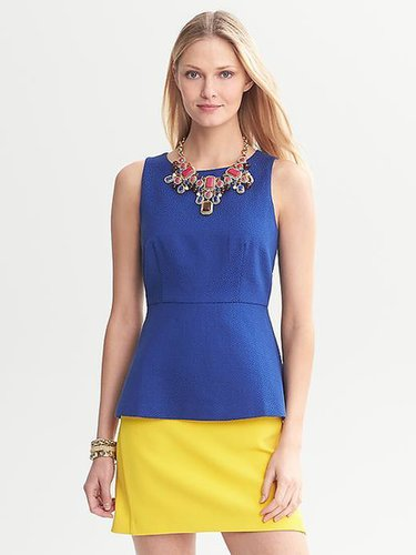 Textured Cobalt Peplum Top