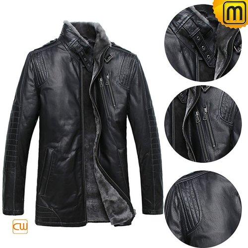 Mens Black Fur Lined Shearling Sheepskin Jacket CW877328