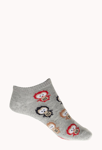 FOREVER 21 Owl Frenzy Ankle Socks
