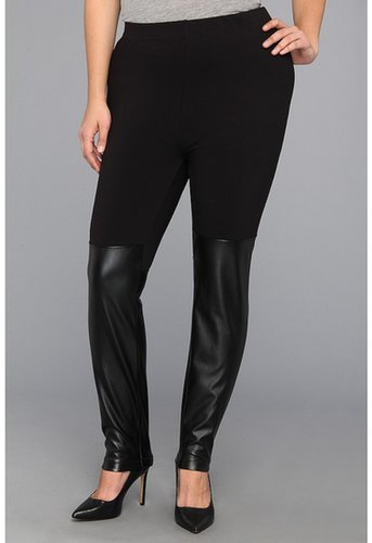 DKNYC - Plus Size Legging w/ Faux Leather Panel (Black) - Apparel