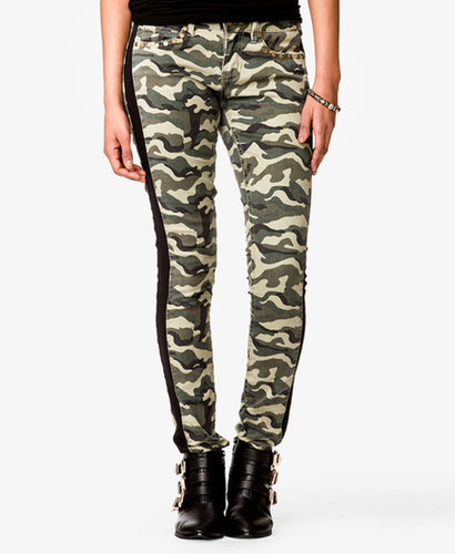 FOREVER 21 Studded Camo Skinny Jeans