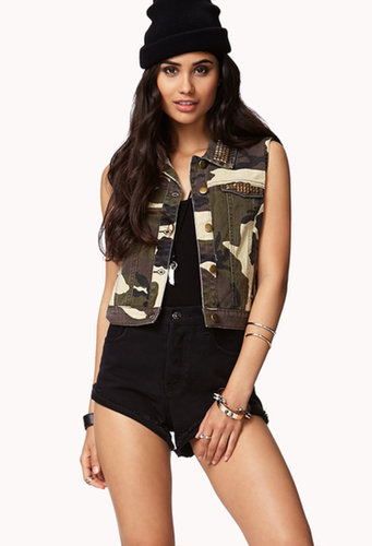 FOREVER 21 Pyramid Studded Camo Vest
