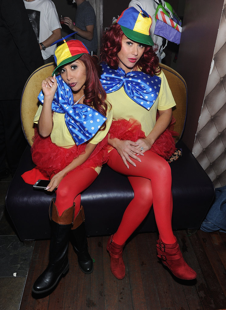 Snooki and JWoww opted for a costume change at their Halloween event, switching it up as Tweedledee and Tweedledum.