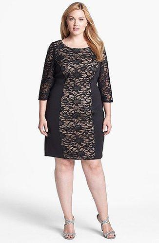 Alex Evenings Embellished Lace Panel Sheath Dress (Plus Size)