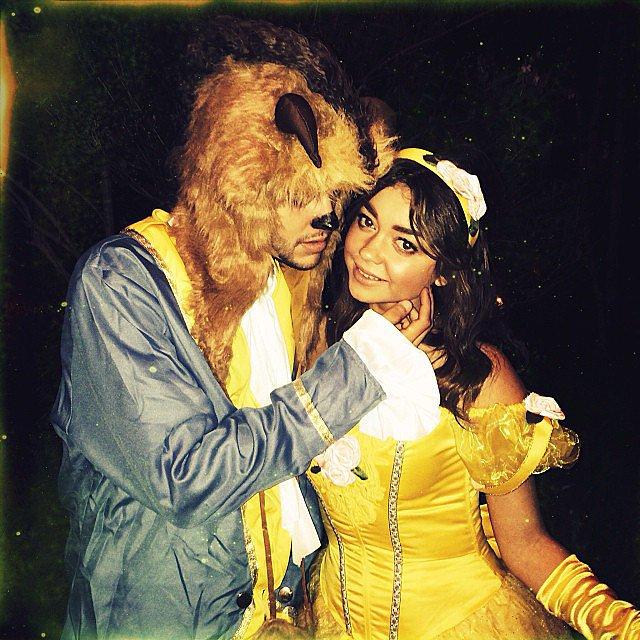 Sarah Hyland dressed up as Belle for Halloween, with her boyfriend Matt Prokop as Beast. Source: In