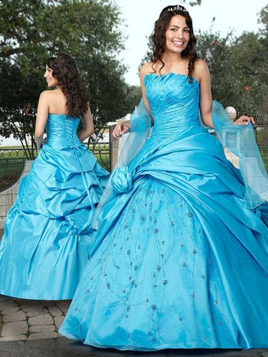 Ball Gown Strapless Taffeta Floor-length Beading Quinceanera Dresses at sweetquinceaneradress.com