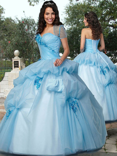 Ball Gown Sweetheart Organza Floor-length Flower(s) Quinceanera Dresses at sweetquinceaneradress.com