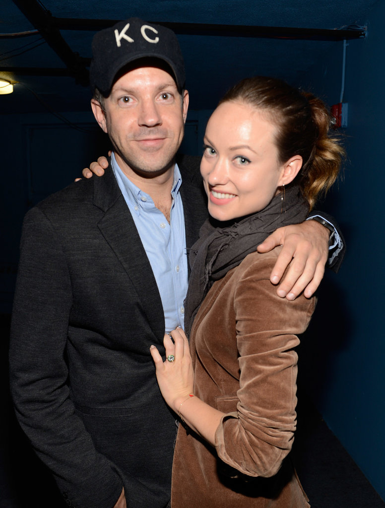 Olivia Wilde and Jason Sudeikis snuggled up backstage at a Justin Timberlake show in NYC in May 2013.