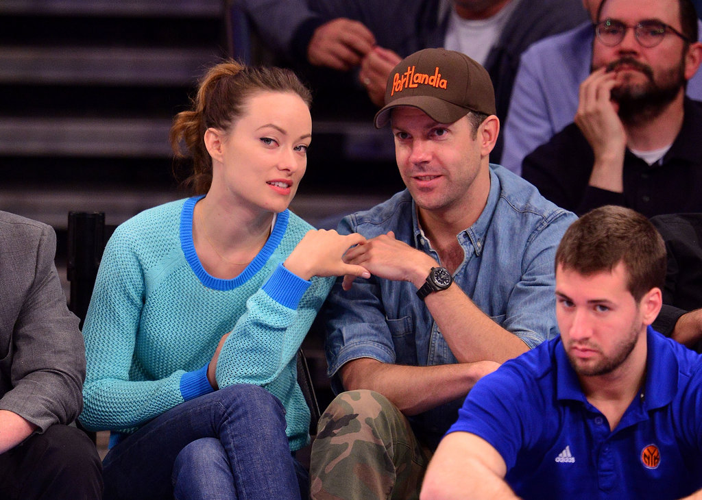 Olivia Wilde and Jason Sudeikis had a sweet moment while sitting courtside at an Indiana Pacers game in NYC in May 2013.
