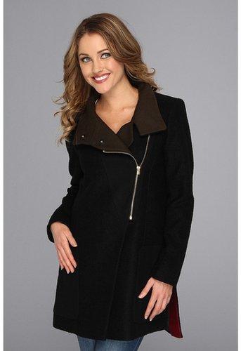 DKNY - Mixed Media Asymetrical Zip Coat (Black) - Apparel