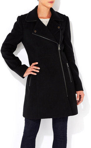 Black Asymmetric Zip Coat