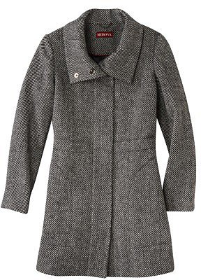 Merona® Women's Long Herringbone Topper Coat -Black