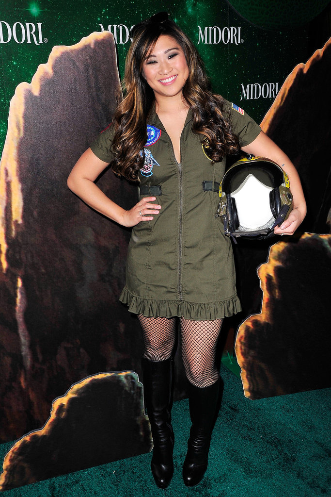Jenna Ushkowitz channeled a Top Gun fighter pilot at the Midori Green Halloween party in LA.
