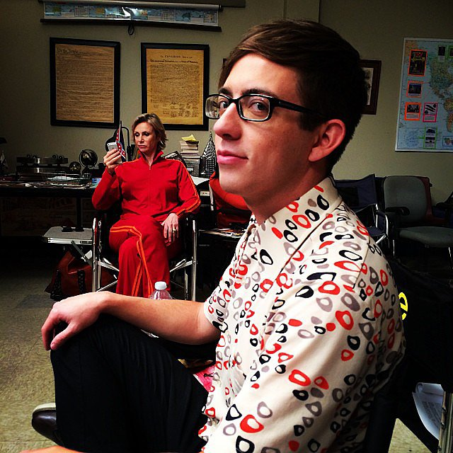 Kevin McHale got photobombed with a signature Sue Sylvester stare (courtesy of Jane Lynch) on the set of Glee. Source: Instagram user chordover