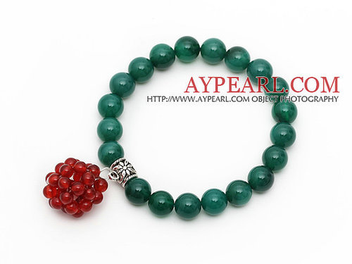 2013 Christmas Design Round Green Agate Stretch Bracelet with Carnelian Beaded Ball
