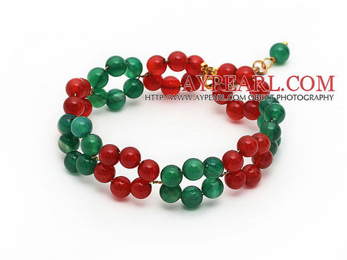 2013 Christmas Design Round Green Agate and Carnelian Beaded Link Bracelet with Extendable Chain