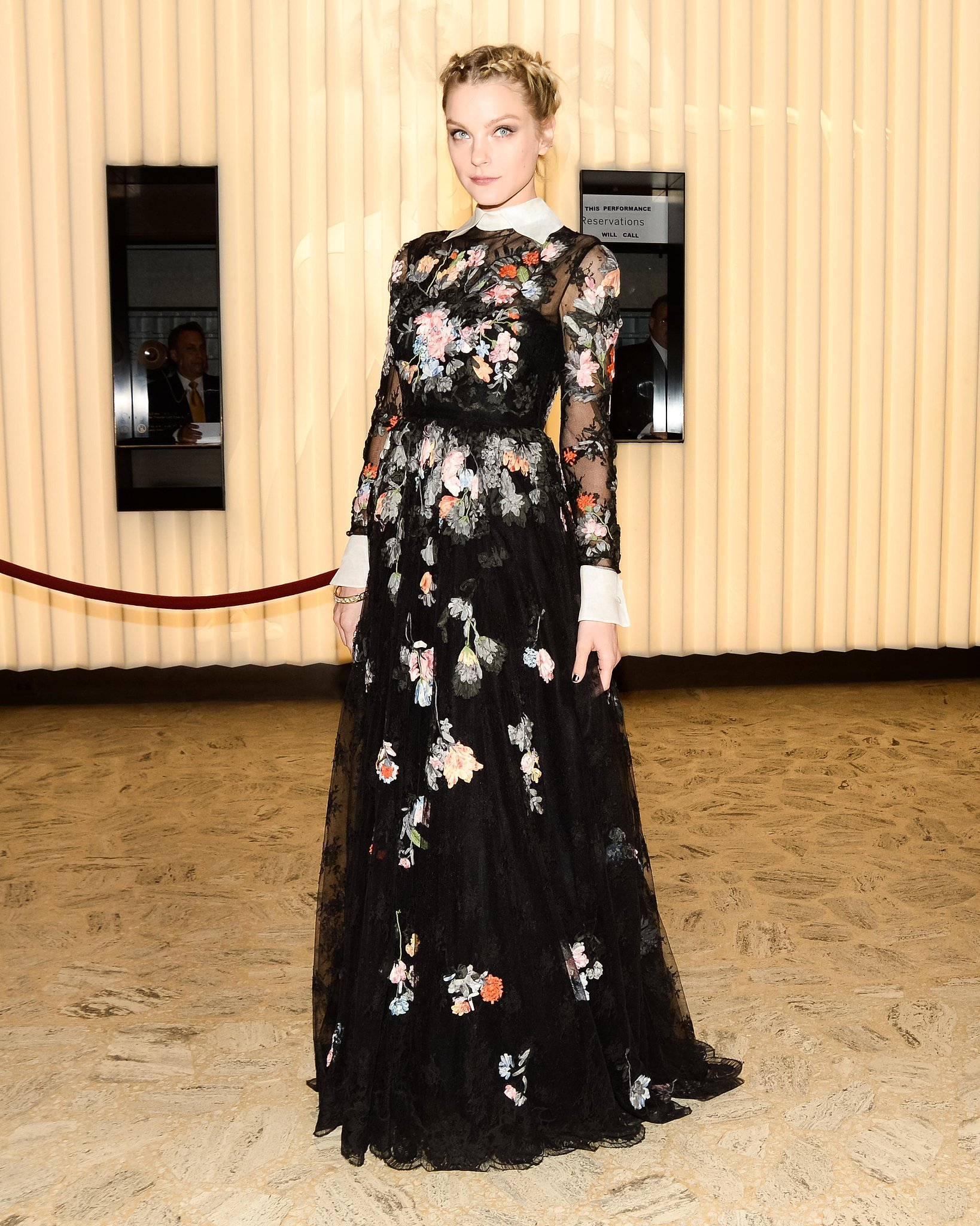 Jessica Stam graced the American Ballet Theatre opening night gala in an embroidered floral gown.