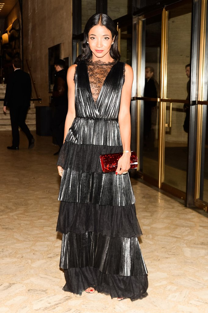 Genevieve Jones made an elegant entrance in a tiered lace gown at the American Ballet Theatre gala.