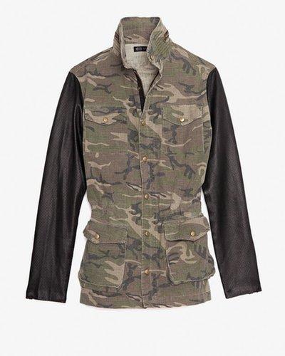 Jet John Eshaya Exclusive Perforated Leather Sleeve Camo Jacket