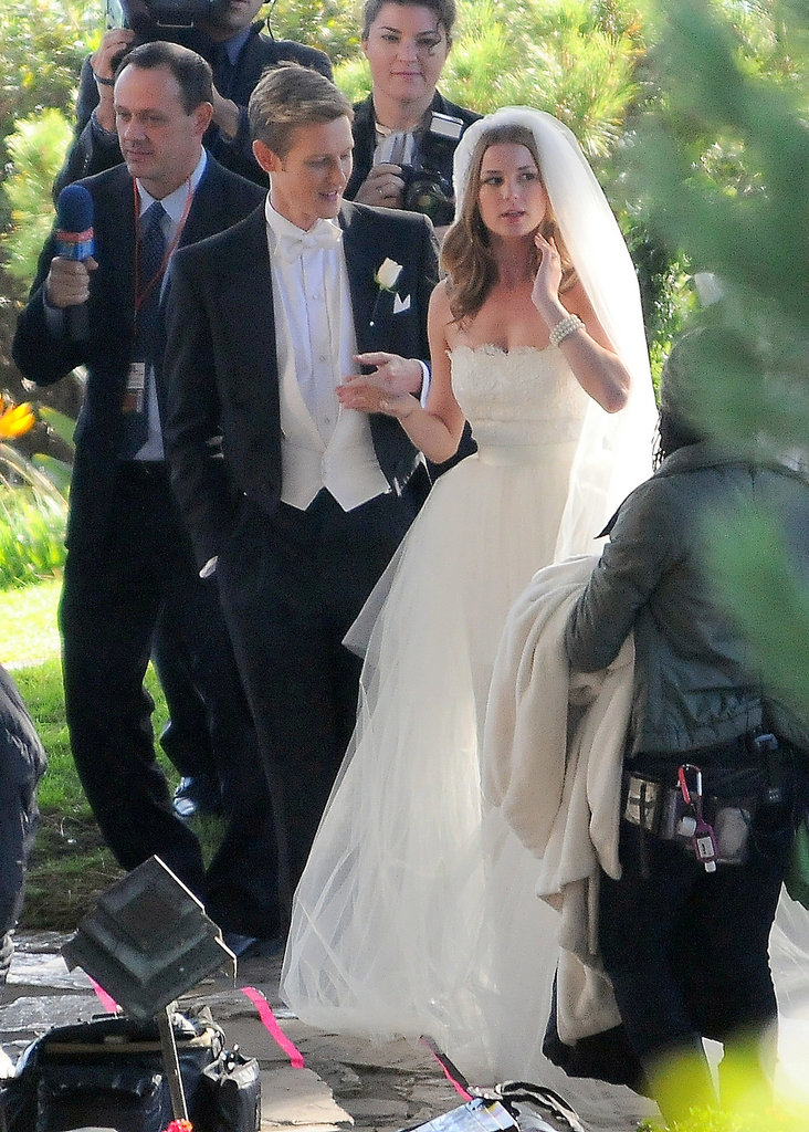 Gabriel Mann and Emily VanCamp were in LA wearing black-tie attire for a Revenge wedding on Tuesday.