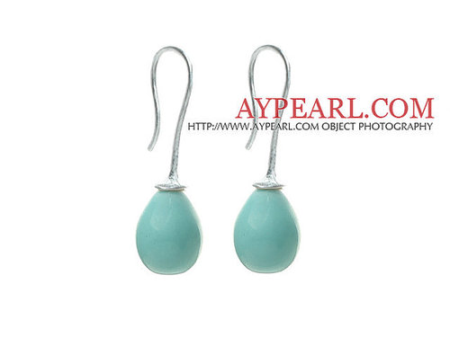 Classic Design Drop Shape Blue Turquoise Color Seashell Beads Earrings