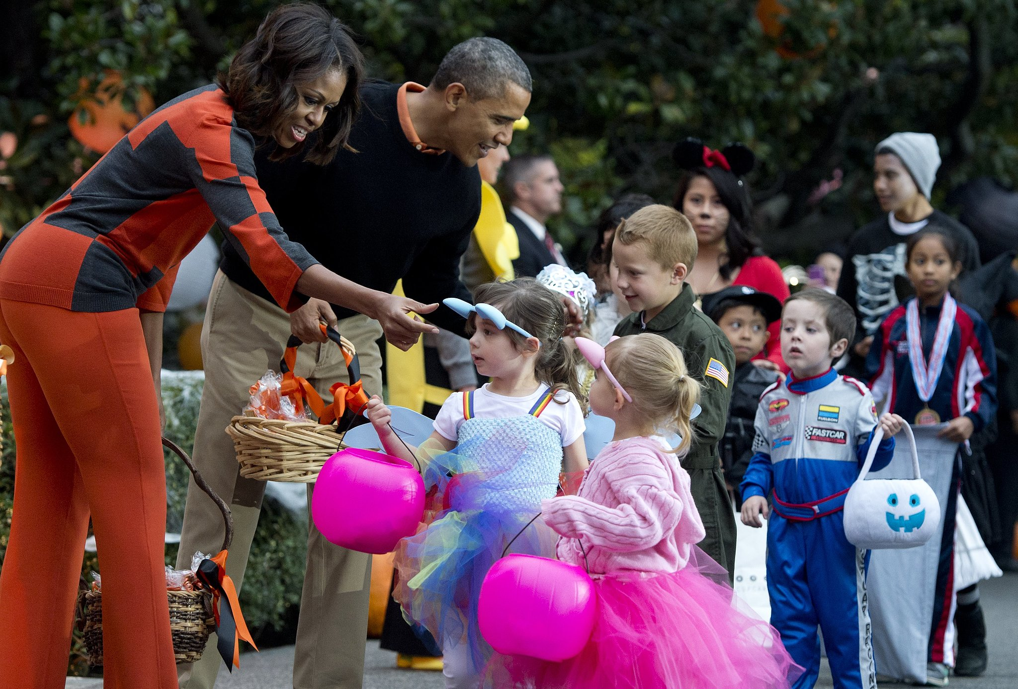 The president and first lady personally handed out candy.