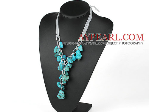 chunky style 23.6 inches Y shape turquoise necklace with ribbon