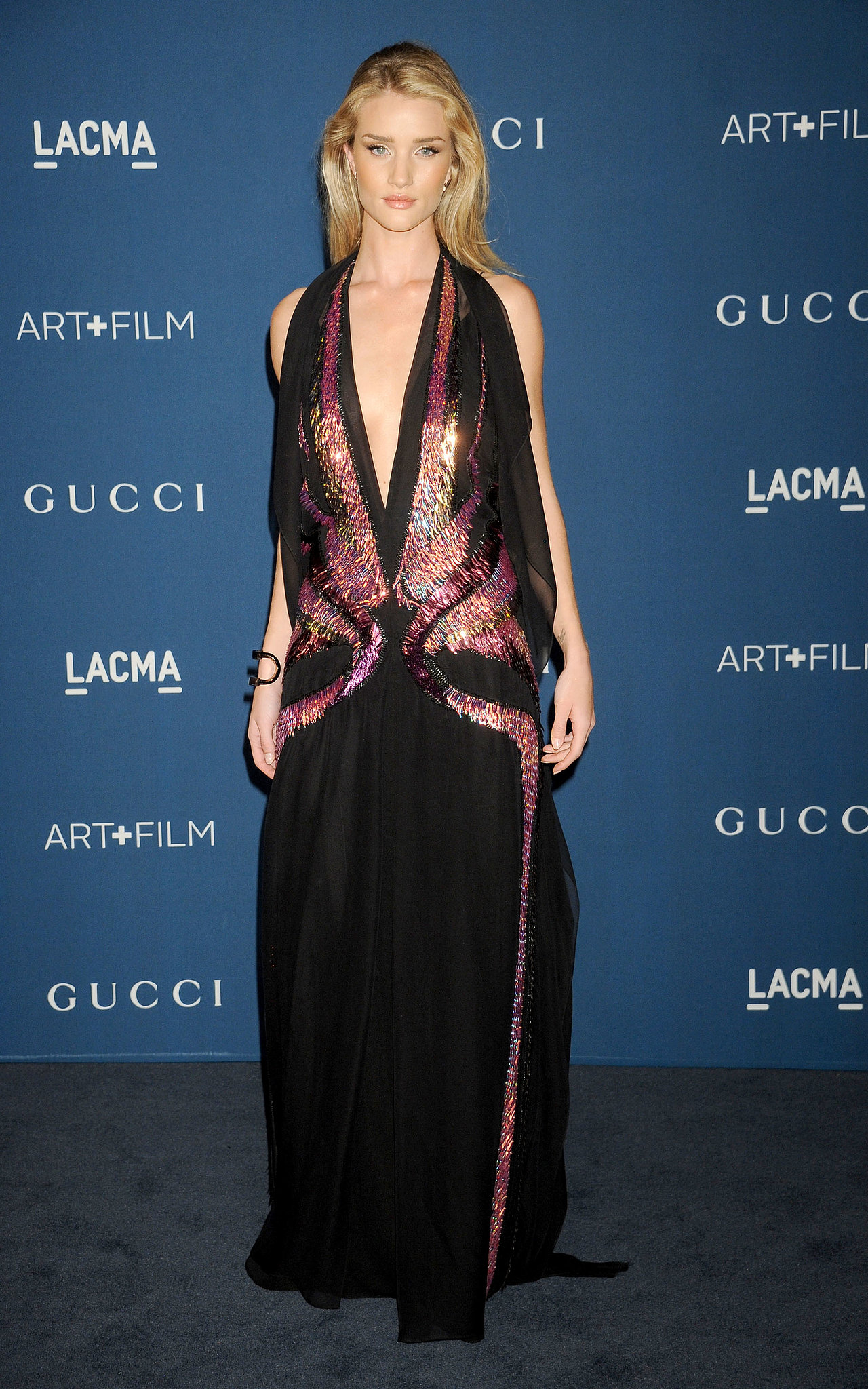 Rosie Huntington-Whiteley looked rich in her aubergine gown at Gucci's LACMA Art + Film Gala.
