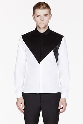 NEIL BARRETT White two-tone leather-trimmed shirt