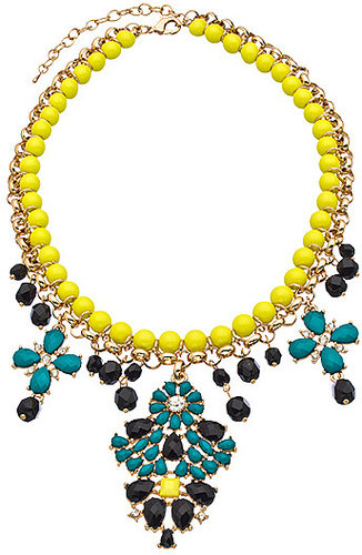 Blu Bijoux Gold Crystal Fuchsia Yellow Turquoise and Black Chandelier Bib Necklace
