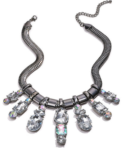 Material Girl Necklace, Gunmetal-Tone Clear Stone Statement Necklace