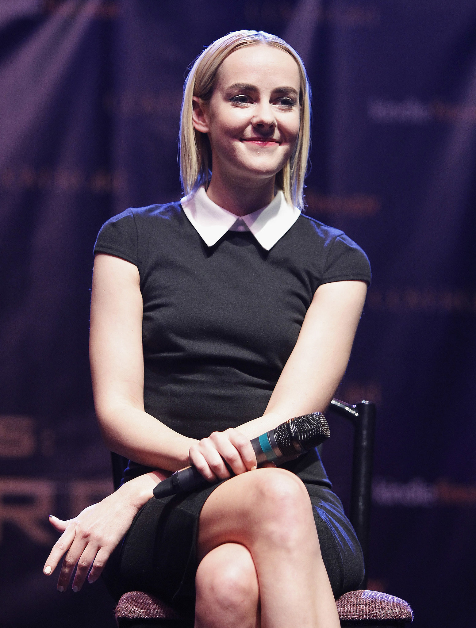 Jena proved the power of black and white in a cap-sleeved dress in Houston.